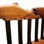 Carved Salmon Bench