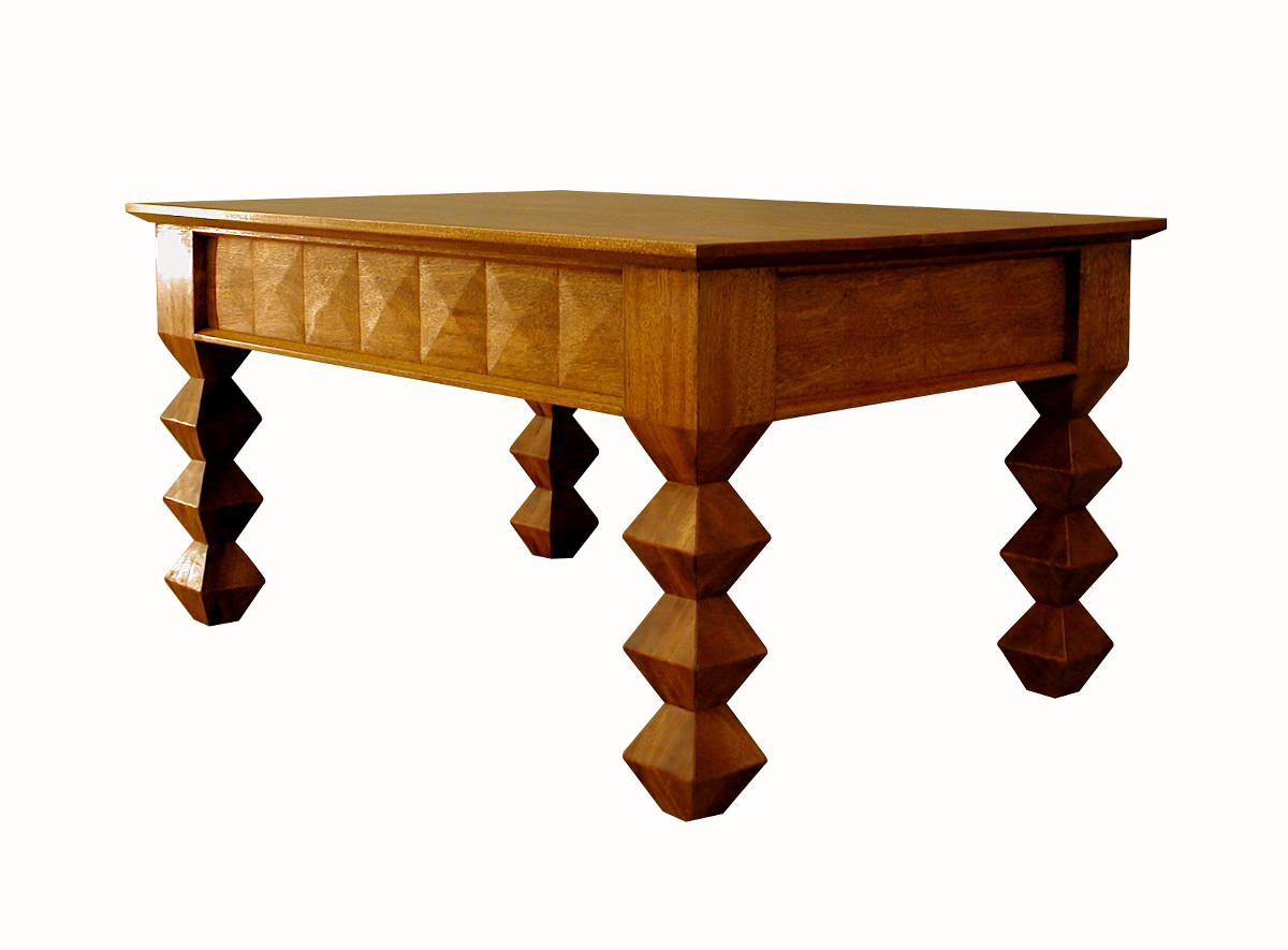 Carved geometric coffee table in mahogany charles ogg for Geometric coffee table