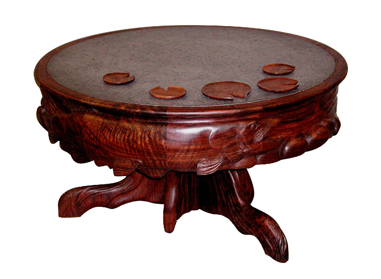 coffee table with carved perimeter and stone top ogg furniture