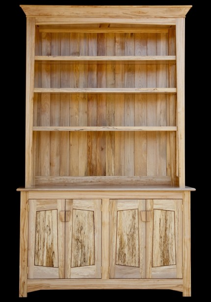Open style spalted maple hutch with adjustable shelves