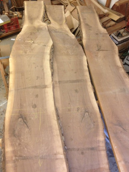 consecutive slices sawed off a large log of local American Black Walnut